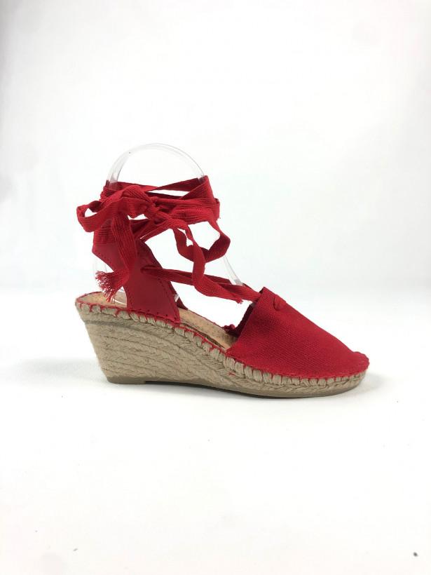 Espadrille talon toile lacets rouge