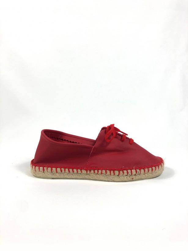 Espadrille cuir lacets rouge